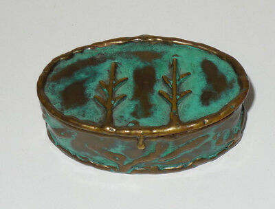 Vintage Brass w Verdigris Patina Metal Art Trinket Box Laton Mexico R. Cervantes