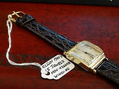 Vintage 1940s Elgin 10K G.F. 15-Jewels Winding Watch w/ Leather Band - Serviced!