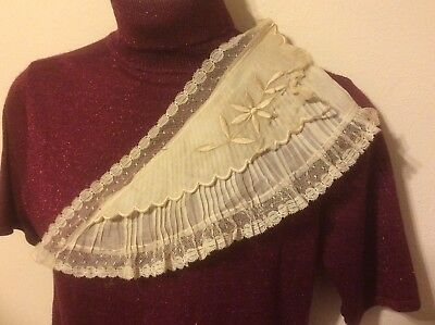 Edwardian Collar Pleated Organza Lace Edging Scallops ~ Part for Costume Fabric