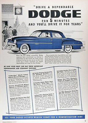 1952 DODGE CORONET SEDAN Genuine Vintage Advertisement ~ RARE CDN Ad