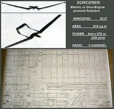 """RC plans & instructions SORCERER Radical Electric or Glow Sailplane span 92.5"""""""