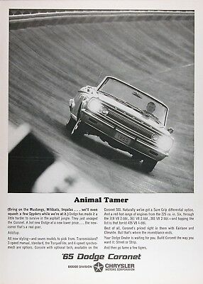 1965 DODGE CORONET CONVERTIBLE Genuine Vintage Advertisement