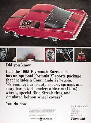 1965 PLYMOUTH BARRACUDA FORMULA S Genuine Vintage Advertisement ~ COMMANDO V-8