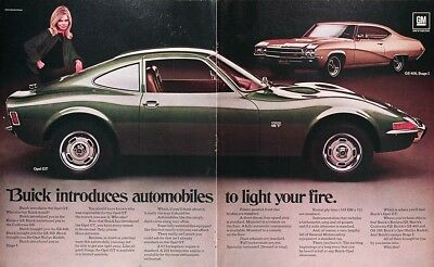 1969 BUICK OPEL GT & GS 400 Genuine Vintage Advertisement ~ Centerfold Ad