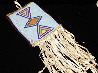 Lrg Antique Crow Plains Indian Beaded Tobacco Bag - C.1890-1910 - Sinew Beaded