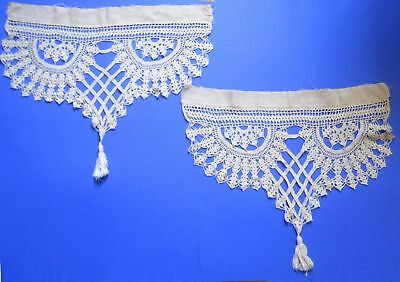Pair of Off White Vintage Hand Crocheted Table Runner Ends
