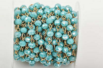 3ft TURQUOISE BLUE AB Crystal Rondelle Rosary Chain, Gold, 6mm beads fch0445a
