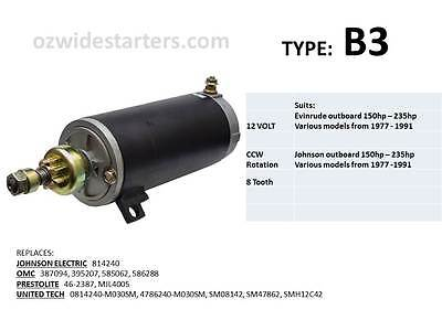 Evinrude / Johnson starter motor suits 150hp-235hp from 1977-1991