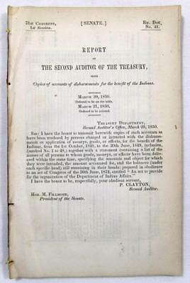 "1850 INDIAN AFFAIRS – Report on Disbursement of Money, etc for Indians ""Benefit"""