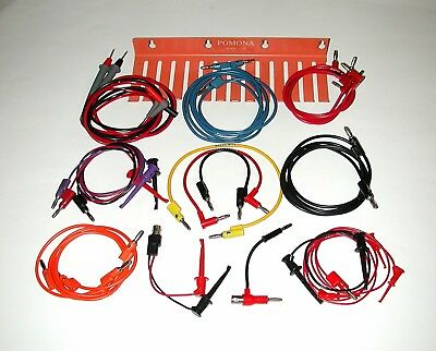 Lot of 22 Pomona Patch Cords, Lead Holder and Fluke Test Probes