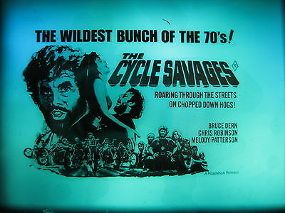 THE CYCLE SAVAGES Australian cinema movie projector glass slide Harley bikers
