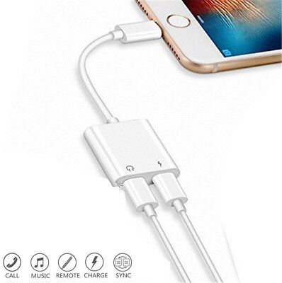 Adapter For iPhone X 6s 7 8 Plus XS MAX Splitter Audio Earphone AUX Charger Dual