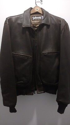 Dark Brown Leather Jacket by Schott Made in USA in NYC size 44 Super Cool Style