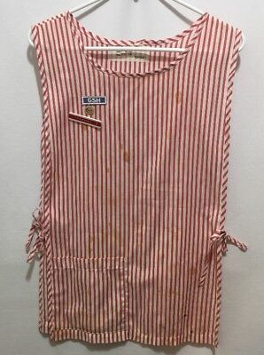 VINTAGE Candy Striper Apron Angelica Made In The USA GHS Name Tag Red White