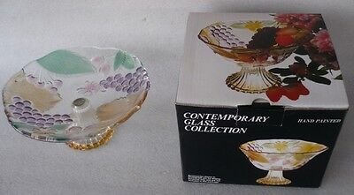 VINTAGE 1980s BOXED  COLOURED GLASS COMPORT FRUIT STAND  SOGA JAPAN