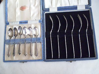 Vintage Boxed Sets X 2(Tw0) Epns/silver Plated Cake Forks & Coffee Spoons As New