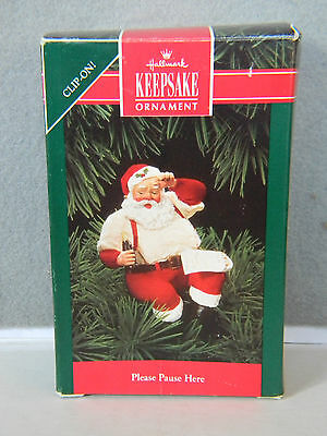 "PLEASE PAUSE HERE - ""Coca-Cola"" Santa - CLIP-ON! - HALLMARK ORNAMENT - 1992"