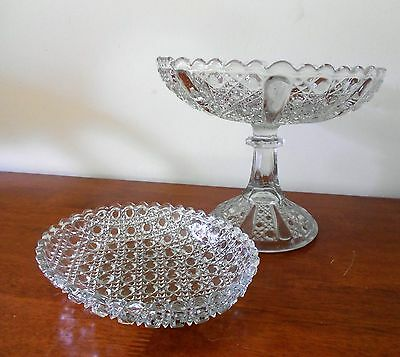 Lot Of 2 X Cut Glass Cane Pattern Tall Stemmed Fruit Comport And Oval Bowl C1910