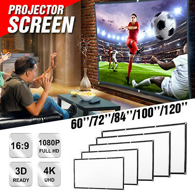 120'' 16:9 HD Projector Screen Home Cinema Theater Projection with Hanging Hooks