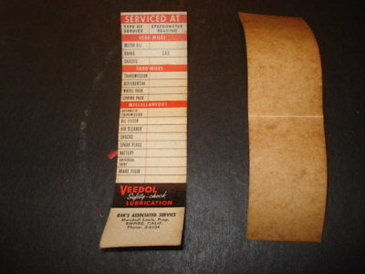 1950s Veedol Flying A Door Jamb Oil Change Stickers Oak's Associated Empire, CA