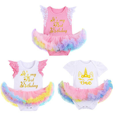 Baby Girl Unicorn 1st Birthday Romper Dress Tutu Skirt Bodysuit Clothes Outfit