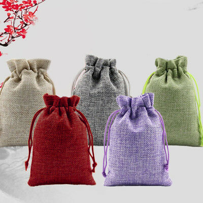 50pcs Wedding Favor Hessian Burlap Jute Gift Bags Drawstring Sack Pouch 5 Colour