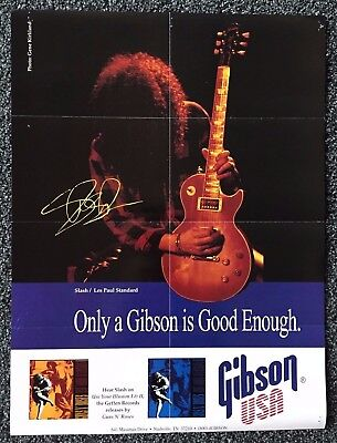 """SLASH - 1983 Gibson Poster 24"""" x 18""""- w/ Les Paul Collection on Back"""
