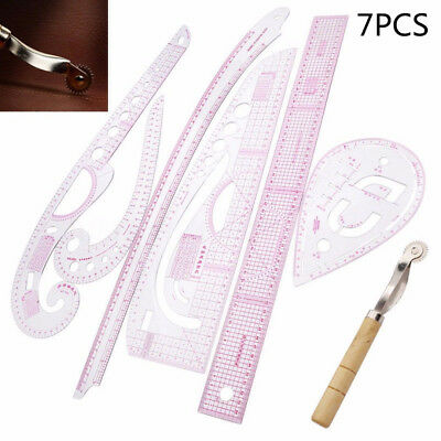 Multi-Function Design clothing Art Ruler French Curve Cut Arc Plate Making 7in1
