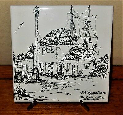 Old Sydney Town 1797 THE DOCK YARD Hanging Wall Display TILE by PAULINE CLEMENTS