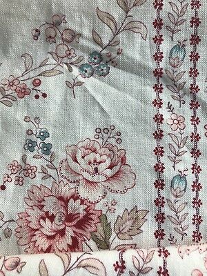 "Superb Antique Indienne French Toile Madder Floral fabric panel c1890s 32""/34"""