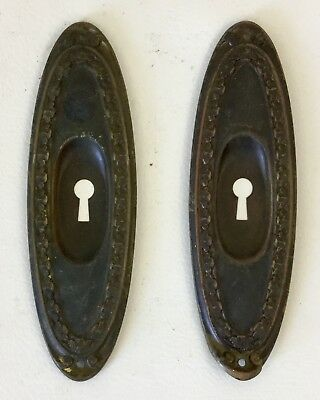 Antique Brass Door Knob Face Plates w Skeleton Key Hole