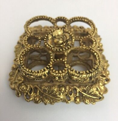 Vintage The Buckler's Metal Gold Tone Lipstick Holder Stand Beautiful!