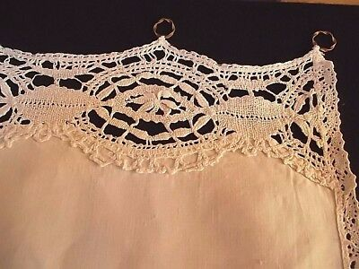 Pair French antique linen cotton bistro curtains w/ hand made lace + brass rings