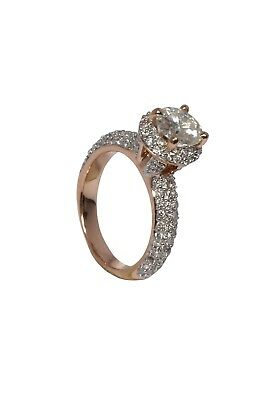 Gorgeous ForeverOne 1.72 Round Colourless Moissanite Rose Gold Engagement Ring