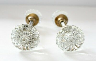 Vintage Glass and Brass Doorknobs 18 Point Crystal-Set of Two