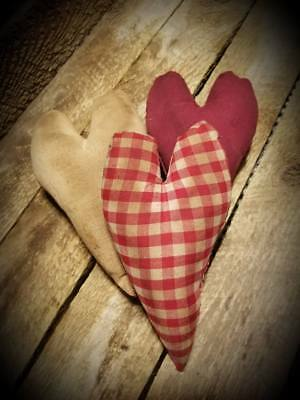 """GrUbBy Valentines Hearts  ~ PRIMITIVE ~ Handmade about 5"""" ~ Bowl Fillers ~ Set 3"""