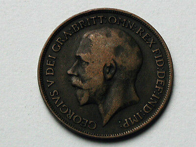 UK (Great Britain) 1917 ONE PENNY (1d.) King George V British Coin