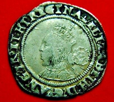 Tudor Period 1567/8 Elizabeth 1St Silver Sixpence Rose Beside Mm Coronet