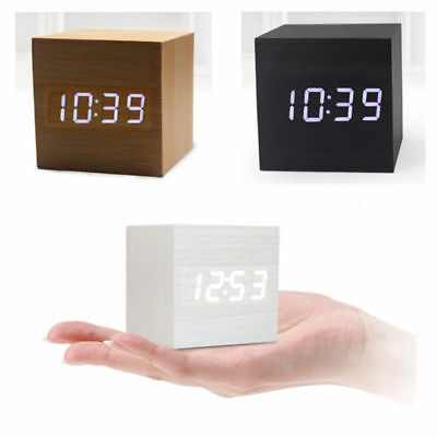 Modern Cube Wooden Wood Digital LED Desk Voice Controls Alarm Clock Thermometers