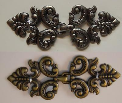 Beautiful Metal Filigree Frog Clasps - Antique Silver or Antique Brass