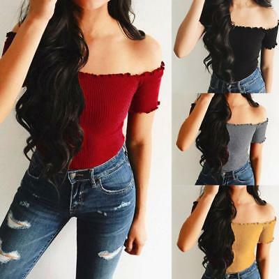Women Strapless Off The Shoulder Short Crop Tops Long Sleeve Blouse Slim TShirt