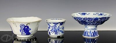Nice Lot Of Old Antique Chinese Blue And White Porcelain Bowl Planter Pedestal