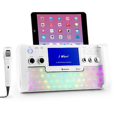"Bluetooth Karaoke Player Machine 7"" Tft Screen Cd Usb Player Led Recording Party"