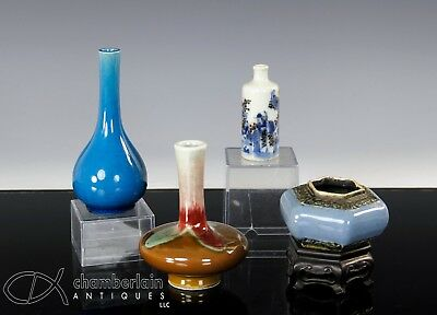 Nice Lot Of Small Antique Chinese Porcelain Vase Water Pot Snuff Bottle Etc