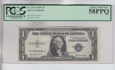 Silver Certificate $1 1935-E PCGS Graded Choice about new 58PPQ
