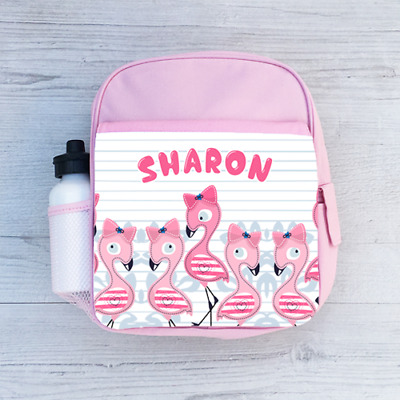 Personalised Baby Flamingos, Cute Girls Kids Backpack, Childrens School Bag
