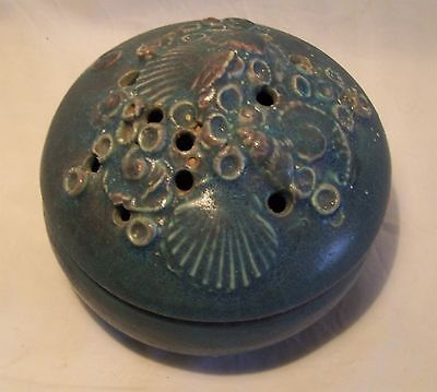 Vintage Australian Studio Pottery Potpourri Incense Pot Sea Shell Signed