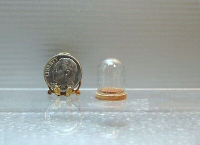 Dollhouse Miniature Small Glass Dome with Wood Base