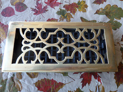 "Floor Register Solid Brass Lacquer Finish Victorian Scroll 4"" x10"""