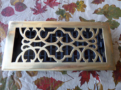 "Solid Brass Lacquer Finish Victorian Scroll 4"" x10"" Floor Register"
